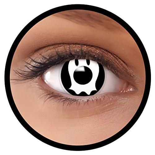 FXEYEZ® Farbige Kontaktlinsen weiß Ghost + Linsenbehälter, weich, ohne Stärke als 2er Pack - angenehm zu tragen und perfekt zu Halloween, Karneval, Fasching oder Fasnacht (Halloween Tutorial-ghost Make-up)