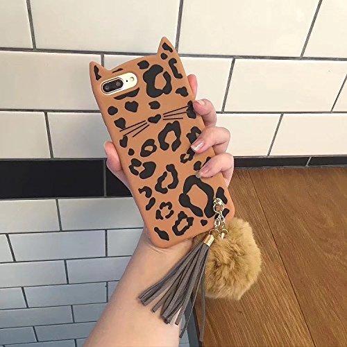SevenPanda Silikon Hülle für Huawei P20 Pro, P20 Plus Ultra Dünne Case Cover Weich Cartoon Stoßfeste Schutzhülle Reizende Katzen Ohren Gel Stoßdämpfer Abdeckung Mit Haar Ball Quaste - Leopard Leopard Cover
