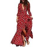 Beginfu Frauen Casual V-Ausschnitt Langer Rock Polka Dot Boho Reißverschlüsse Strand Langarm Kleid mit Schnürung Damen EleganteTropische Blume Gedruckt Lose Split Lange Maxi Kleid