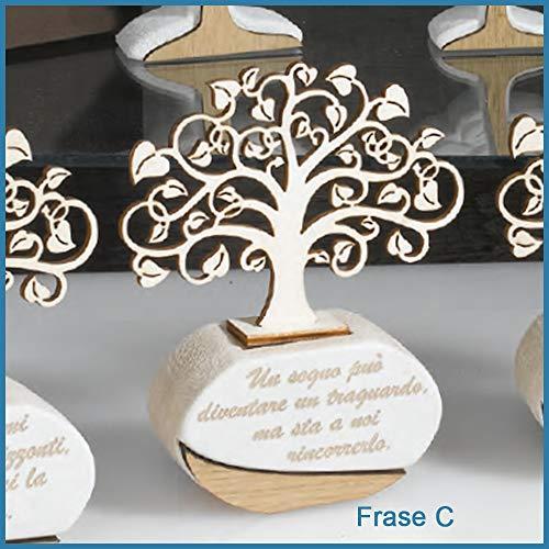 Bomboniere profumatore albero della vita matrimonio battesimo comunione cresima frase c - scatola + bigliettini da bomboniere + essenza inclusi