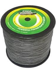 Freefisher - Hilo trenzado de pesca 100% (polietileno, 1000 m, 0,08 - 0,5 mm), multicolor gris Talla:0.3# 0.08mm 4kg 8lb