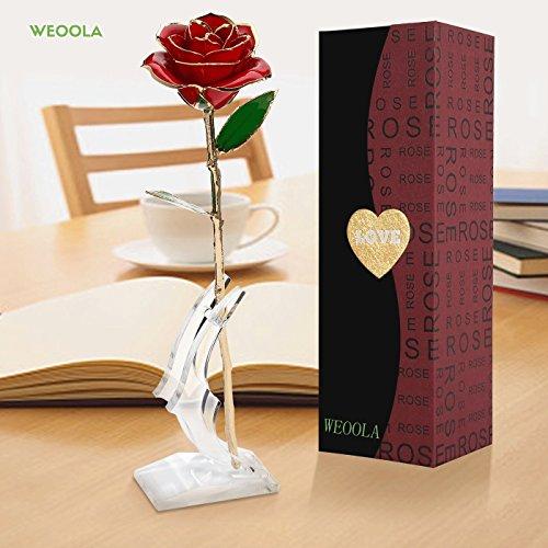 24K Gold Rose, Magicpeony Echte Rose mit Echtem Grünen Blatt - mit Geschenkbox und Ständer Valentinstag Geschenk für Sie (Rote Blume mit Stand)