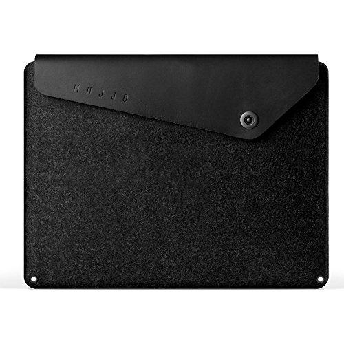 Mujjo Funda de Cuero para MacBook Pro de 13' (3ª, 4ª generación), MackBook Air 2018, iPad Pro de 12,9' | Fieltro característico, Solapa de Cuero, Bolsillos de almacenaje (Negro)