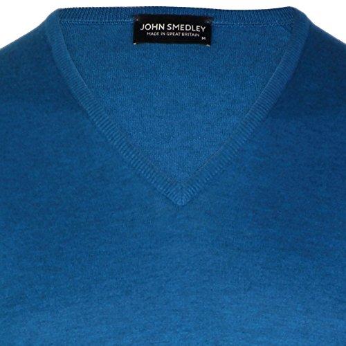 John Smedley Bampton Mens V Neck Pullover maritime blue