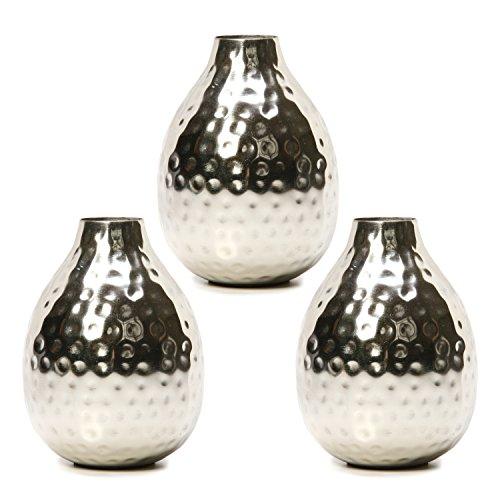 Hosley, vaso per fiori, in metallo di color argento, set da...