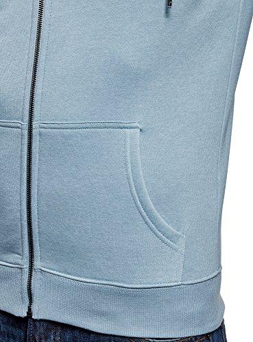 oodji Ultra Herren Kapuzenpullover mit Reißverschluss Blau (7000M)