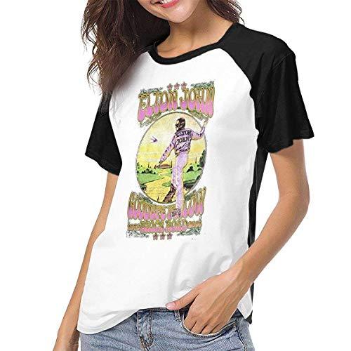 Bagew Damen T-Shirt Mit Rundhalsausschnitt, Raglan Baseball T-Shirt John-Goodbye-Yellow-Brick-Road Printed Crew Neck Casual Tee Tops