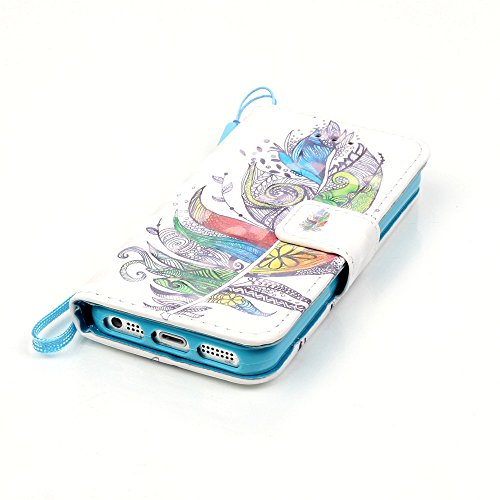 SainCat iPhone 5 / 5s / SE Custodia in Pelle Flip,Neo Elegante Personalizzata Dipinto Modello PU Leather Soft Morbido Libro Wallet Portafogilo Porta carte di Cover Case,Stand Stare in piedi Chiusura M piume colorate