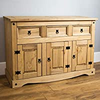 Vida Designs Corona Sideboard, 3 Door 3 Drawer, Solid Pine Wood