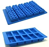 Casey Charles Building Brick Shaped Ice Cube Tray, Silicone Brick Mould - Blue