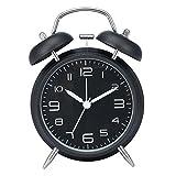 Drillpro Réveil métal à Double Cloche avec la lumière de nuit,Grand cadran de 4 pouces avec alarme sonore,pas tic-tac et silencieux Blanc