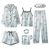Kllomm Sieben Stück Frühjahr und Herbst Pyjama Frauen Langarm Schlinge Plus...
