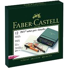 Faber-Castell 167146 - Estuche estudio con 12 rotuladores Pitt punta de pincel, multicolor
