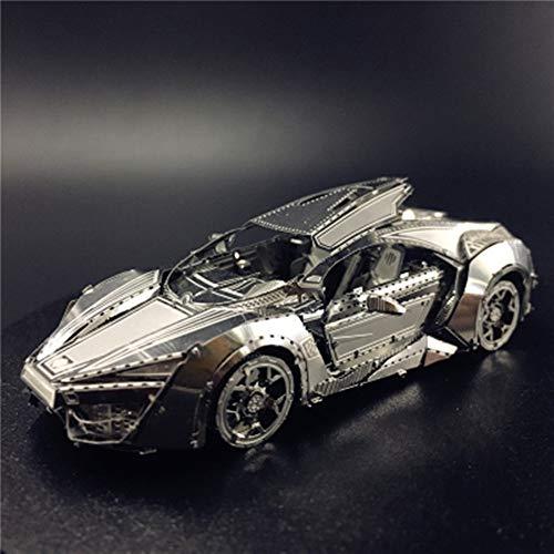 Schnelle Sportwagen 3D Metall Puzzle Modell Adult ToysDIY 3D Laser Cut Puzzle Spielzeug Silber + Werkzeug B One Size