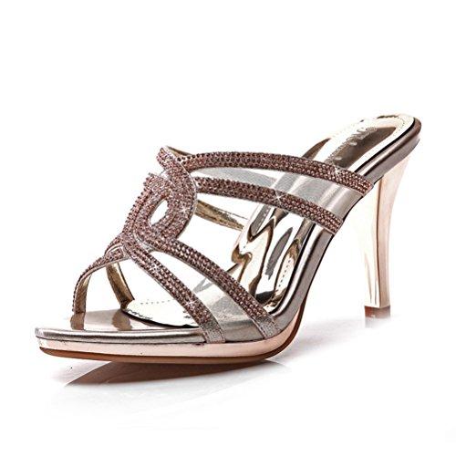 Damen High Heels Plateau Aufzug Kreuzband mit Strass Stilettos Elegante Schuhe Sommer Offene Zehen Modische Sandalen Gold