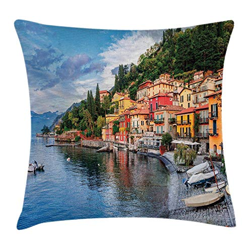 Cupsbags Italian Decor Throw Pillow Cushion Cover, Summer Village by Mediterranean Sea with Yacht Boats Idyllic Town Panorama, Decorative Square Accent Pillow Case, Multicolor20