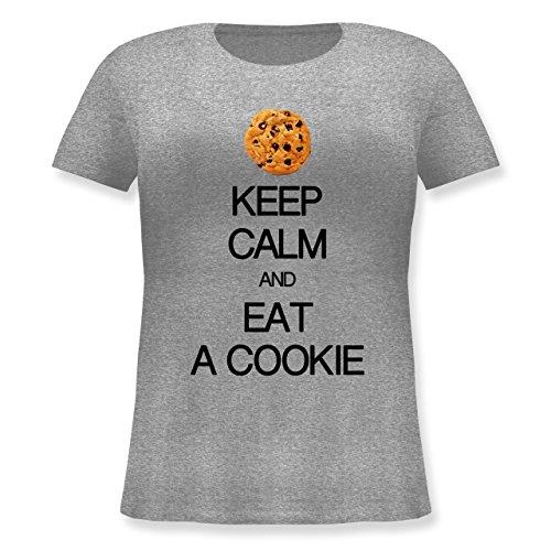 Keep Calm - Keep Calm and eat a Cookie - XL (50/52) - Grau meliert - JHK601 - Lockeres Damen-Shirt in großen Größen mit Rundhalsausschnitt