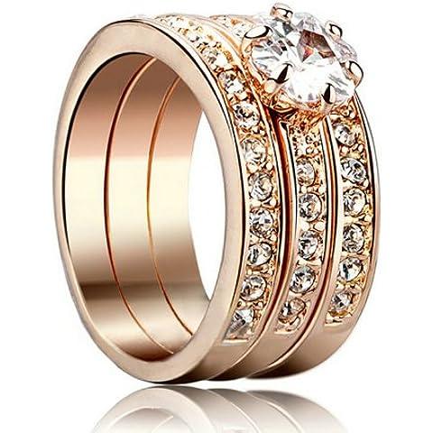 Yoursfs 0.5ct Cubic-in-One Three impegno Zirconia anelli placcato oro rosa 18 - Diamond Ring: Platinum Diamond Band