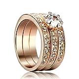 Yoursfs Unico Mix Abbinato 3 in 1 Anelli Donne Diamante Matrimonio Anelli 18ct Oro Rosa Placcato Abito Gioielleria per Signora Regalo di San Valentino di Ragazza