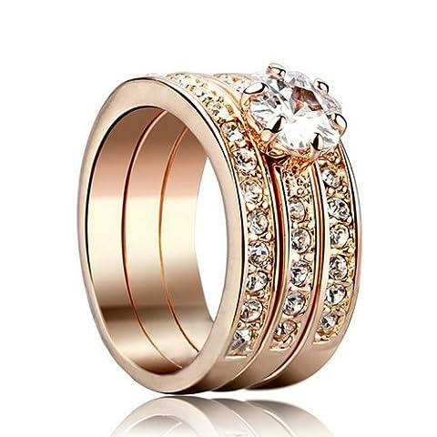 Yoursfs Einzigartige Mischung 3 in 1 Ringe & Künstlich Diamante Trauringe & 18K Rosegold Vergoldete Kleid Schmuck für Damen/Mädchen