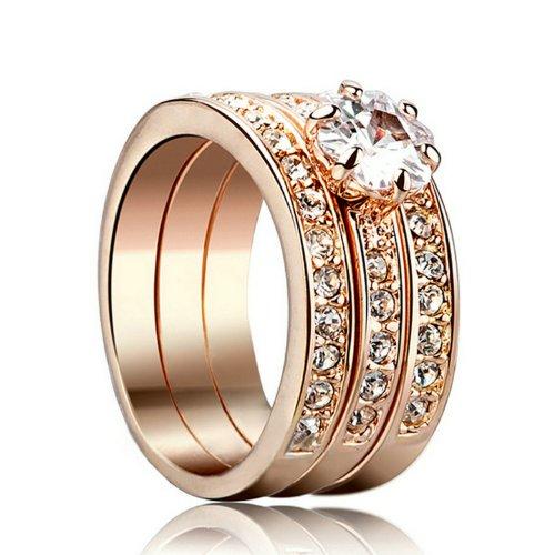 Yoursfs anillos 3 en1 anillo oro mujer 18k anillos oro de compromiso