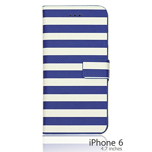 OnlineBestDigital - Striped Style PU Leather Wallet Flip Stand Case / Housse pour Apple iPhone 6 (4.7 inch)Smartphone - Rouge avec 3 Film de Protection Bleu