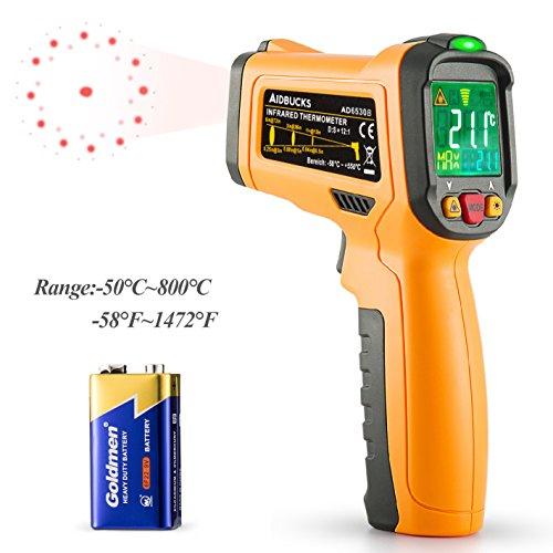 Infrarot Thermometer Janisa AD6530B ir Laser Digital Thermometer kontaktfreies mit Farbe lcd 12-Punkte-Laserkreis Farbbildschirm Alarmfunktion bei Über/Unterschreitung der Temperatur -50℃ bis 800℃