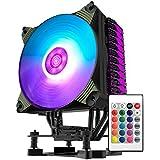 CPU Kühler mit 4 Heatpipes, AIGO Silent CPU Luftkühler mit 120mm PWM RGB LED Lüfter und IR Controller für INTEL/AMD, AM4 kompatibel