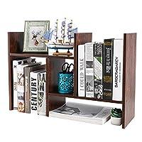 PAG Wood Desktop Bookshelf Assembled Countertop Bookcase Adjustable Literature Display Rack