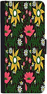 Snoogg Seamless Texture With Flowers And Butterflies Endless Floral Pattern Designer Protective Phone Flip Case Cover For Samsung Galaxy A8