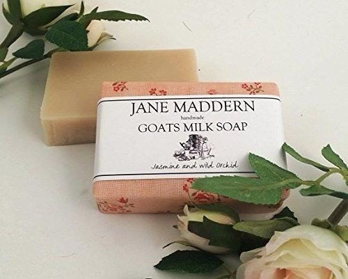 Jane Maddern Fatto a mano Capre Latte Sapone 90g (GELSOMINO E SELVATICO ORCHIDEA profumate) Made in Somerset, Inghilterra