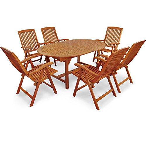 Indoba Gartenmöbel Set, 7-teilig 'Sun Flair' - Gartenset - Serie, braun, 220 x 110 x 74 cm, IND-70010-SFSE7