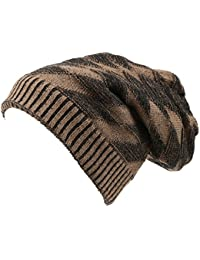 Sakkas Zaye Long Tall Slouchy Diamond Patterned Knit Faux Fur Lined Beanie Hat