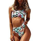NIUQY Bikini Due Pezzi Costume da Bagno Backless Donne Sexy Stampa Fasciatura Bikini Costume da Bagno Divisa Beach Swimwear