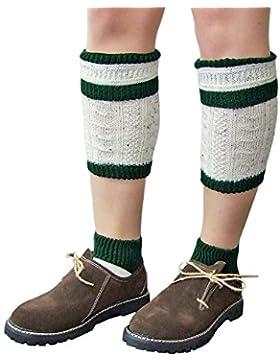 Loferl Trachtensocken Natur und Dunkelgrün - Schöne zweiteilige Loferl Strümpfe bestehend aus Socken und Wadenwärmer