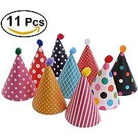 YeahiBaby Sombreros del cono de la fiesta de cumpleaños con Poms 11pcs, fiesta de bienvenida al bebé, favores de la fiesta de cumpleaños