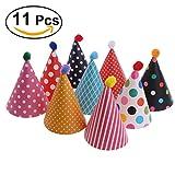 NUOLUX Partyhüte Geburtstag,Kuchen Geburtstag Party Kegel Hüte mit Pom Poms,11pcs