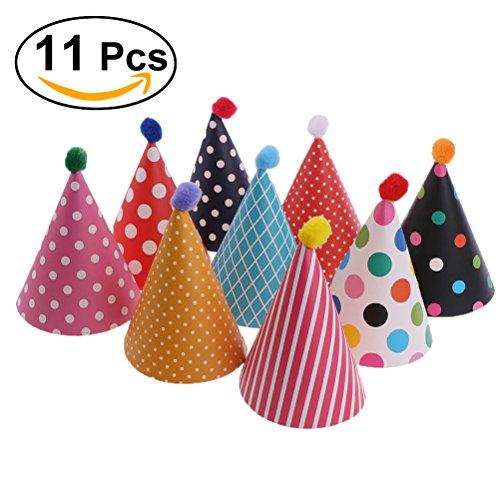 burtstag,Kuchen Geburtstag Party Kegel Hüte mit Pom Poms,11pcs ()