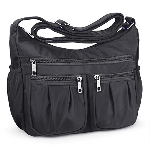 ABLE Wasserdichte Leichte Nylon Crossbody Messenger Shoppertasche Umhängetasche Crossover Bag Leichte Schultertasche (0-Blau) 0-Schwarz