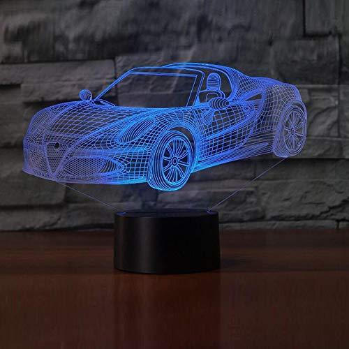 Moderne Cabrio-3 Licht (YDBDB Nachtlicht Farbe Kreative Cabrio Led Sportwagen Form Tischlampe Weihnachtsgeschenke 3D Illusion Kinderzimmer Dekor)