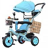 YC Kinder Dreirad Fahrrad Kinderwagen Fahrrad mit Carport, Multifunktionale Baby 1-6 Kinderwagen,D