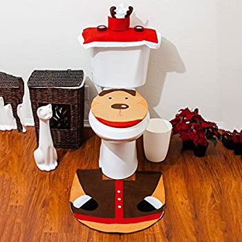 Ularma 2PCS Set Fancy Snowman Toilet Seat Cover Rug Bathroom Set