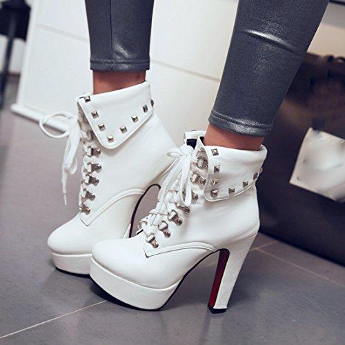 UH Femmes Bottines à Talons Hauts Bloc Chaussures avec Fourrure Bout Rond de Lacet avec Platefoemr en Fashion pour L'hiver Blanc