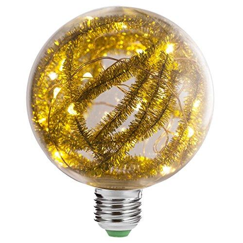 Luohaoshi Glühlampe mit LED-Lichterkette, G95, E273000K, Warmweiß, 2W [entspricht 20W Halogenlampe], Retro, Feuerwerk, Vintage, dekorativ, 200lm, 1Pack, Yellow Ribbon, E27 2.00W 230.00V