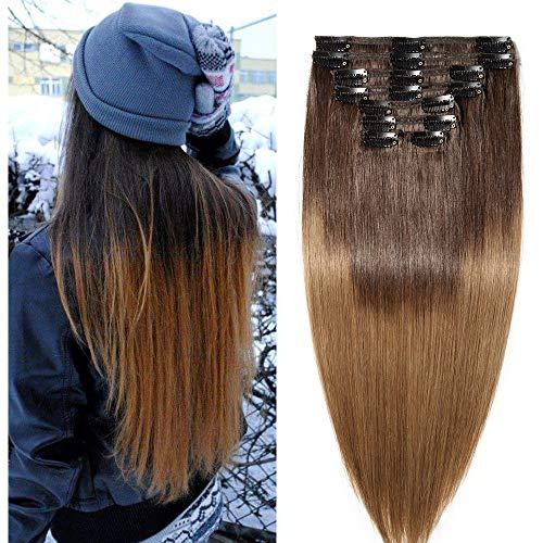 55cm extension clip capelli veri shatush doppia tessitura lunga 22