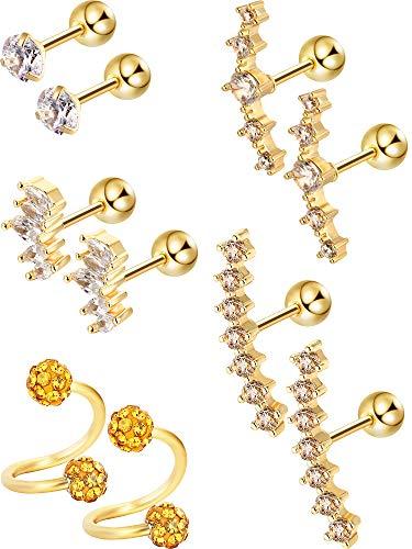 5 Paar Edelstahl Knorpel Ohrringe Tragus Helix Ohrclip Barbell Knorpel Stud für Damen Mädchen Favor, 5 Stile (Gold) (Gold-schwarzer Diamant-ohrringe)