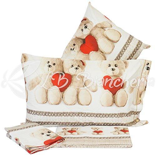 R.p. completo lenzuola orsetti teddy love - made in italy - 100% cotone a trama fitta - 2 piazze. letto matrimoniale