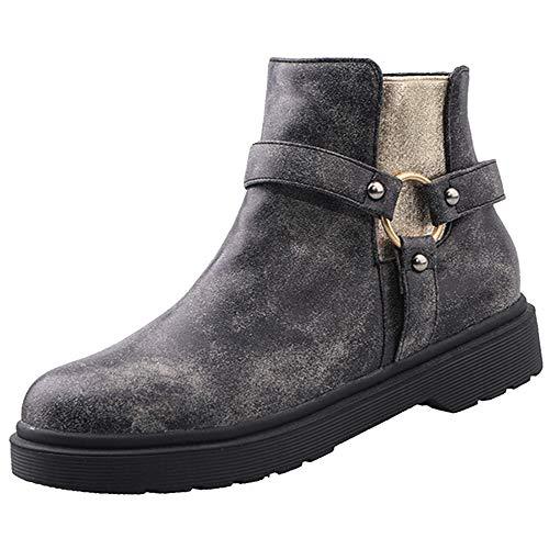NIGHT CHERRY Damen Mode Niedrige Absatz Harness Stiefel Runde Zehen Low Top Stiefel Reißverschluss Black Große 34 Asiatisch Low Harness Boot