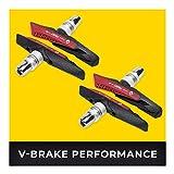 V-Brake Bremsbeläge 2 Paar 72mm Asymmetrisch I Für Shimano, Tektro, Avid, Sram, XLC UVM I Hohe Bremsleistung bei Nässe I Langlebige & Passgenaue Bremsklötze