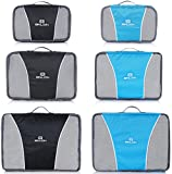 Binlion Packing Cube 6pcs for 2 Color - Travel Cubes Set Organizers and Compression Pouches for Carry on Luggage Suitacase and Backpack.